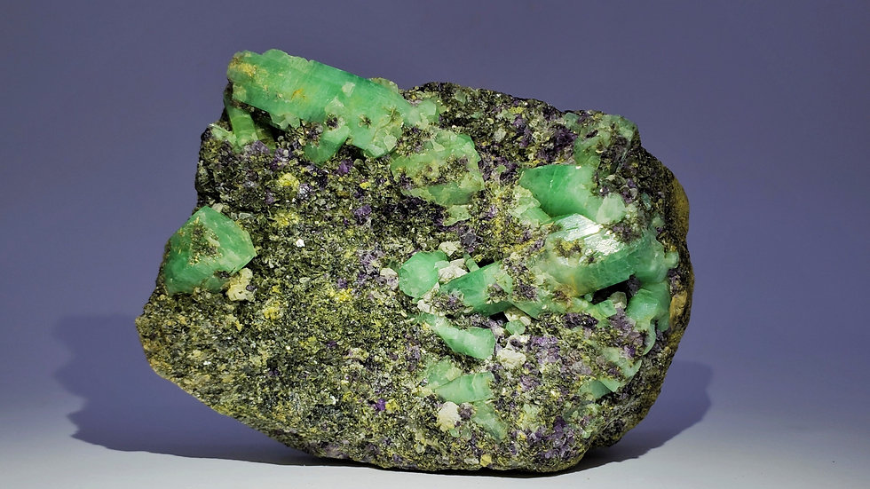 Beryl var. Emerald in Quartz with Fluorite and Epidote from Dayakou Emerald Mine