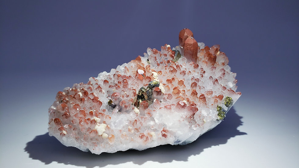 Vivid Red Hematite Quartz with Pyrite, Chalcopyrite and Dolomite