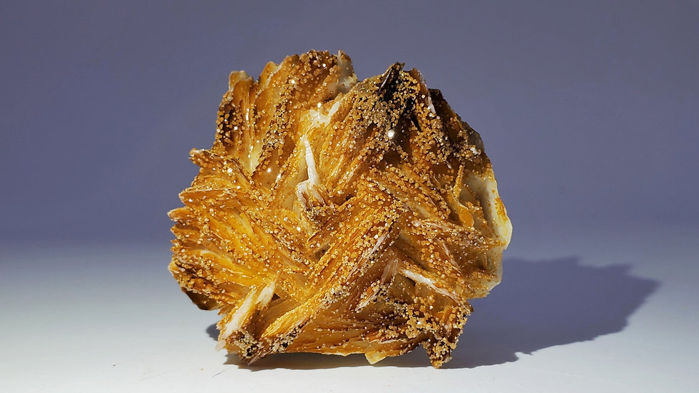 Vanadinite on Barite (Baryte) Mineral Specimen from Mibladen, Morocco