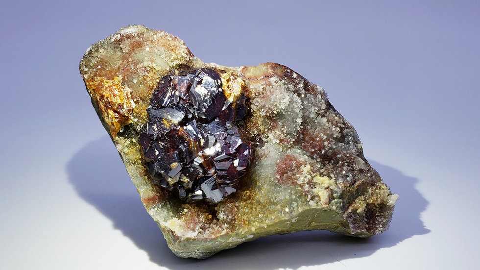 Collector's Piece: Sphalerite on Quartz from Taolin Mine, Linxiang Co., China