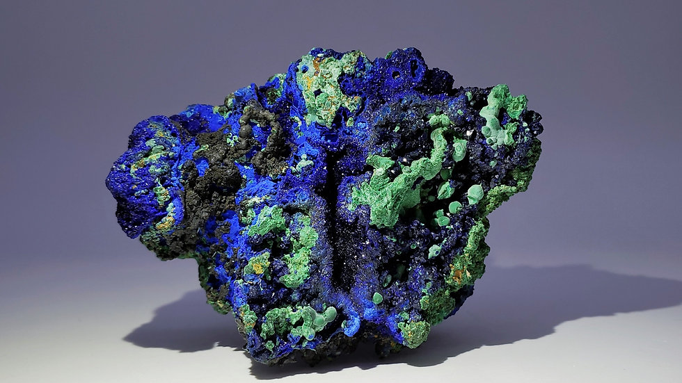 Collector's Piece: Azurite and Malachite with Goethite from Sepon Mine, Laos