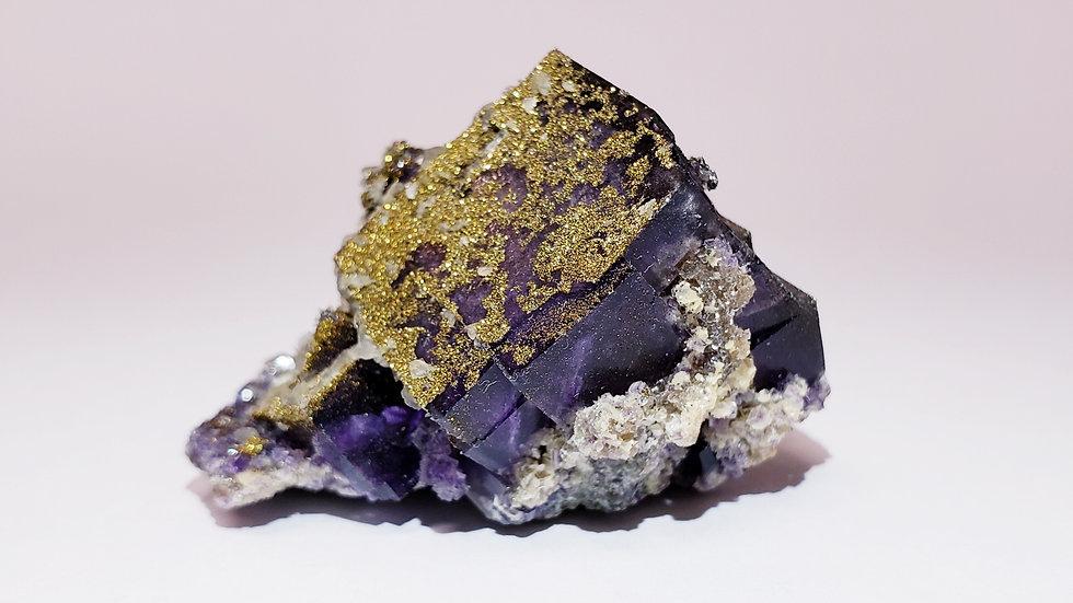 Purple Fluorite and Pyrite from Yaogangxian Mine, China