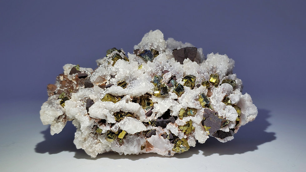 Collector's Piece: Pyrite and Chalcopyrite on Calcite psu. Quartz from China