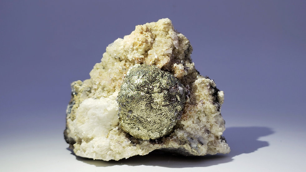 Collector's Piece: Pyrite on Calcite and Dolomite from Daye Copper Mine, China
