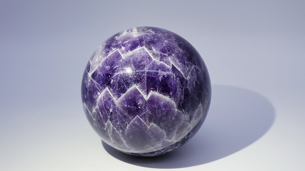 Large Chevron Amethyst Crystal Sphere from Brazil