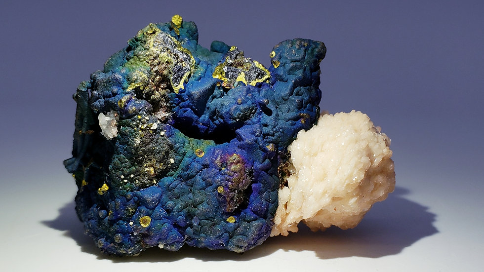 Collector's Piece: Bornite and Barite with Chalcopyrite from Daye Mine