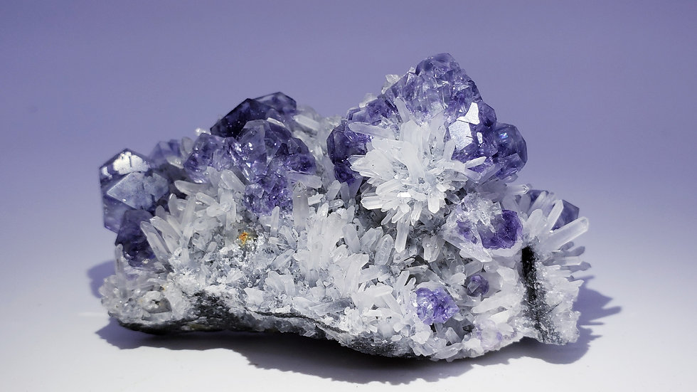 Collector's Piece: Purple-blue Phantom Fluorite on Quartz from Xiayang Mine