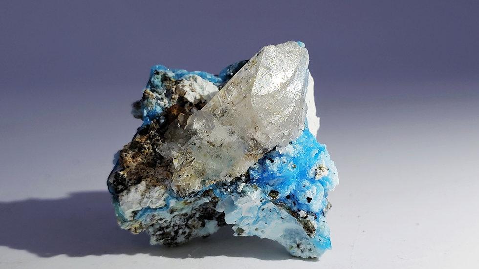 Gypsum var. Selenite on Gibbsite from Laochang Mine, Yunnan, China