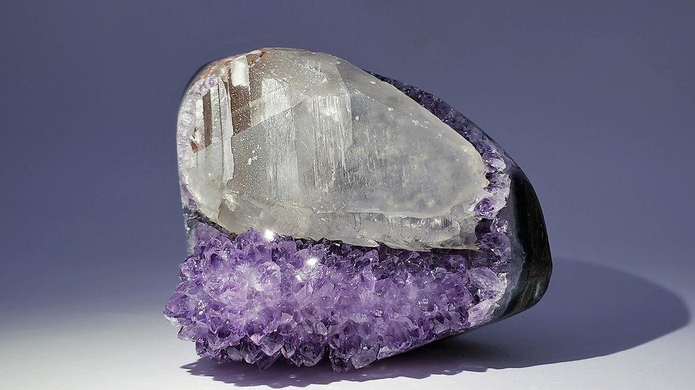 Collector's Piece: Quartz var. Amethyst and Calcite from Catalán Grande, Uruguay