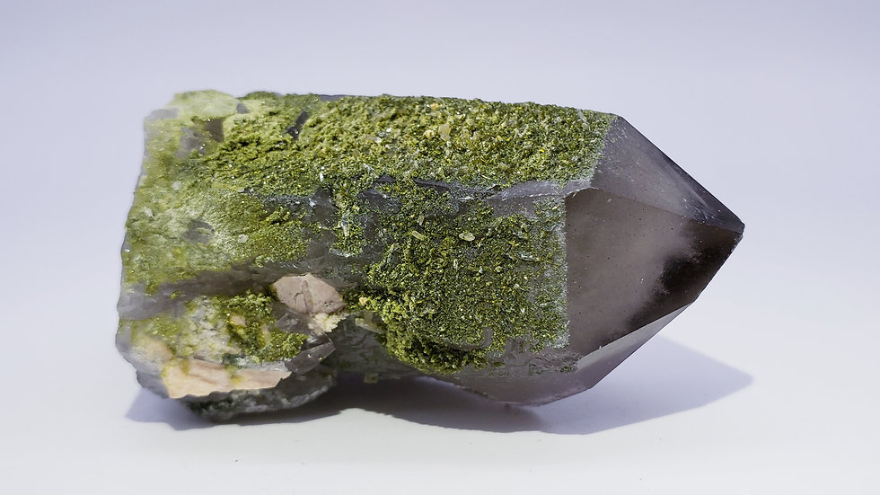 Mongolian Green Epidote Coated White Phantom Pyramid Quartz