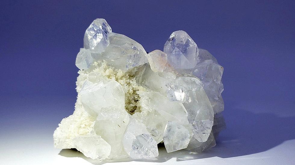 Apophyllite and Stilbite on Quartz from Jalgaon District, Maharashtra, India