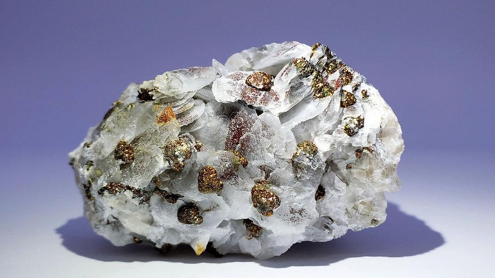 Iridescent Chalcopyrite on Calcite from Manaoshan Mine