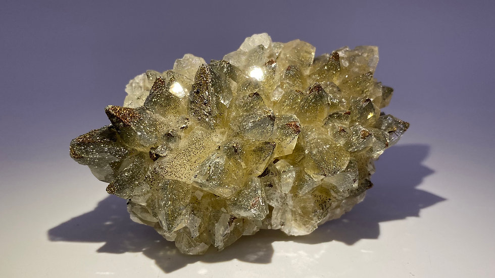 Collector's Piece: Iridescent Chalcopyrite on Dogtooth Calcite from Daye Copper