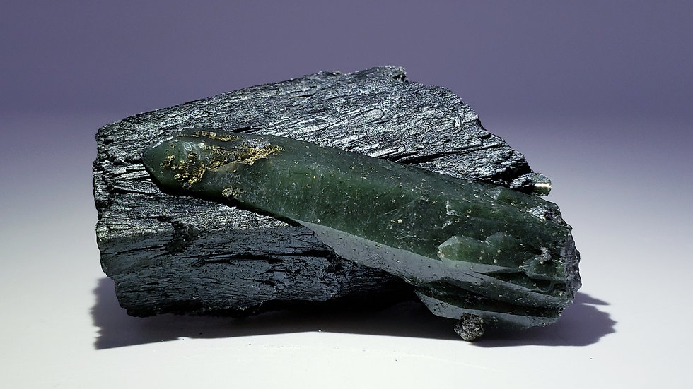 Mongolian Ilvaite with Green Hedenbergite Quartz and Calcite Crystals
