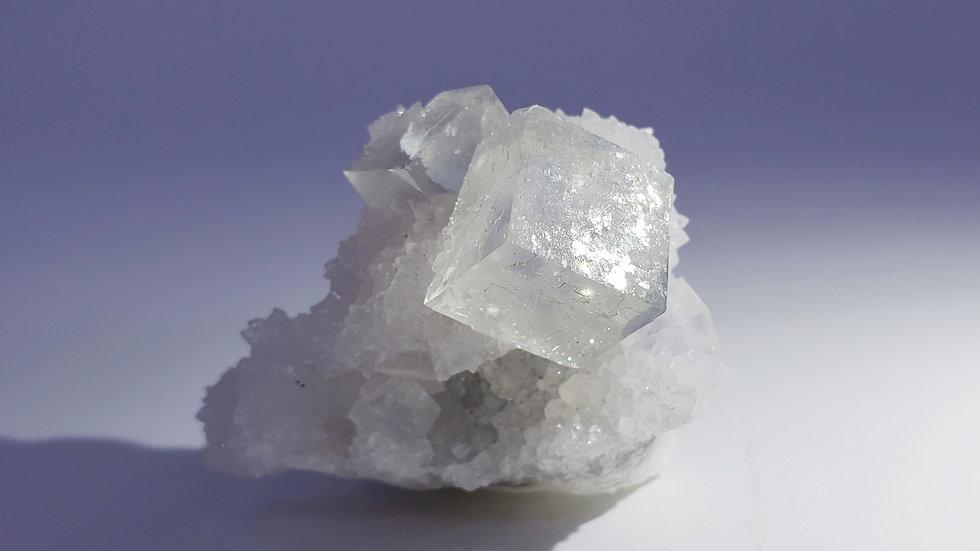 Phantom Fluorite on Druzy Quartz from Yaogangxian Mine, China
