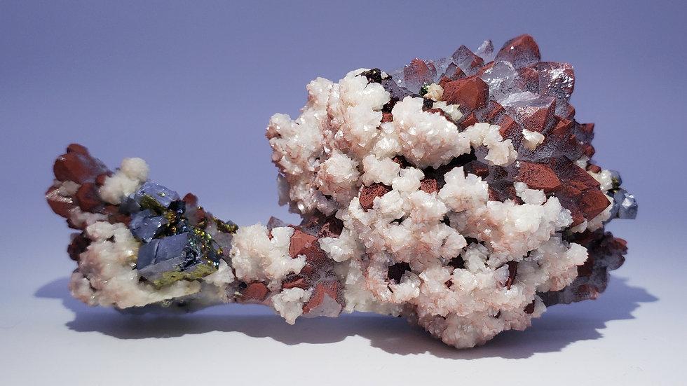 Red Hematite Quartz Crystals, Galena, Chalcopyrite, Dolomite and Rainbow Pyrite