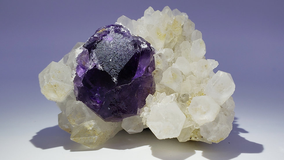 Purple Fluorite on Quartz Crystals Matrix from Shizhuyuan