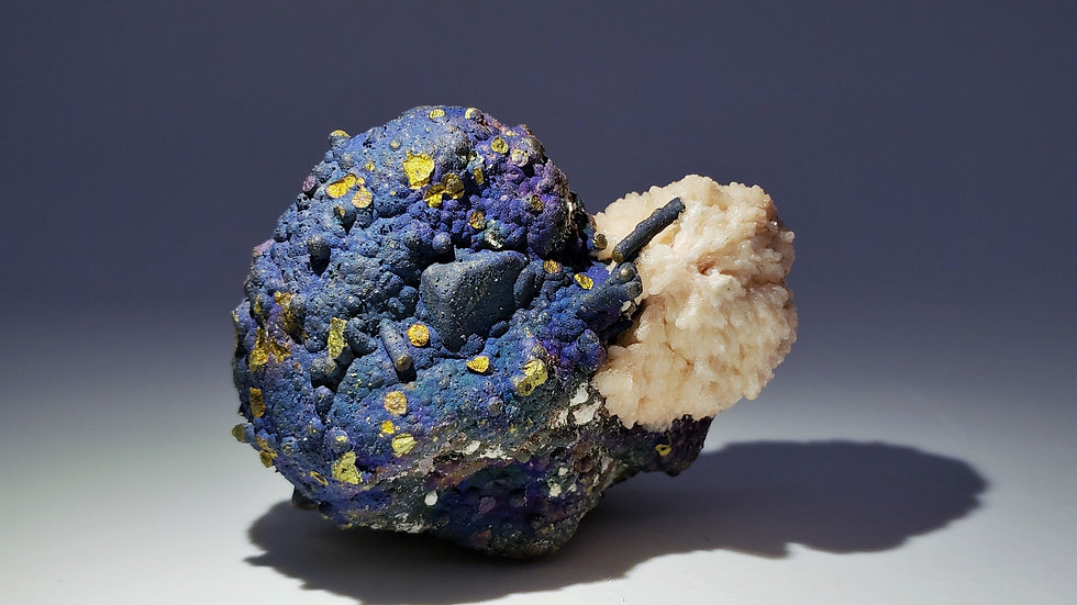 Collector's Piece: Bornite and Barite with Chalcopyrite from Daye Copper Mine