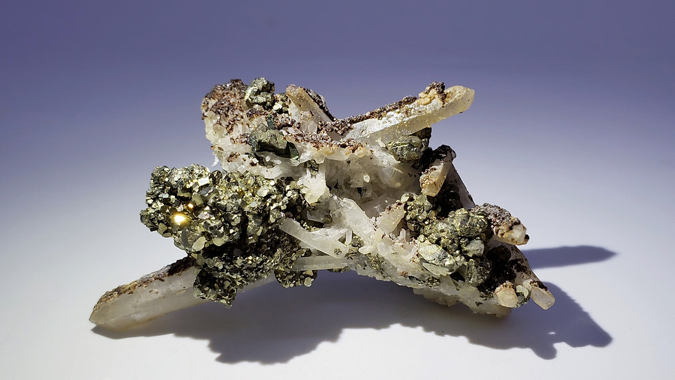 Collector's Piece: Rare Hubeite on Quartz with Pyrite and Chalcopyrite