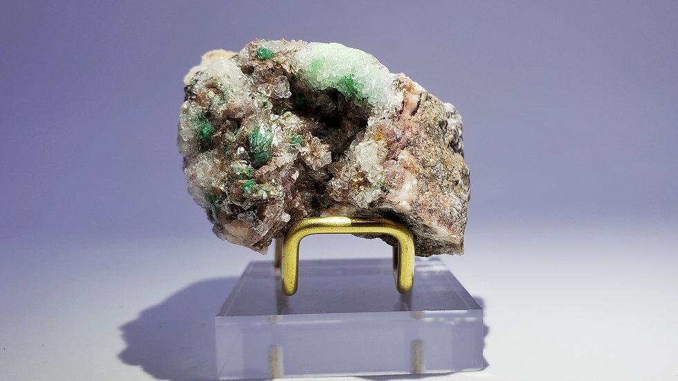 Gypsum coated Brochantite on Dolomite from Touissit, Morocco