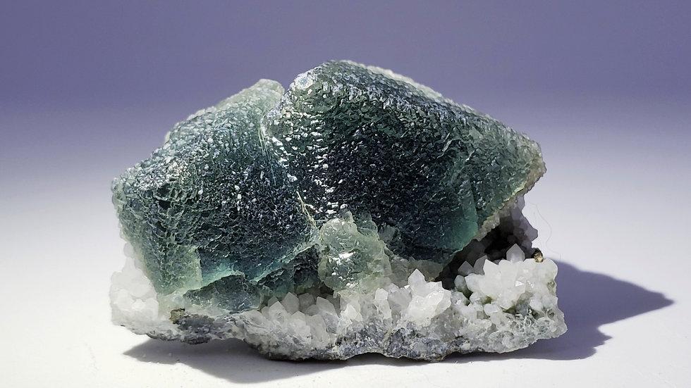 Blue Fluorite on Quartz from Huanggang Mine, Inner Mongolia