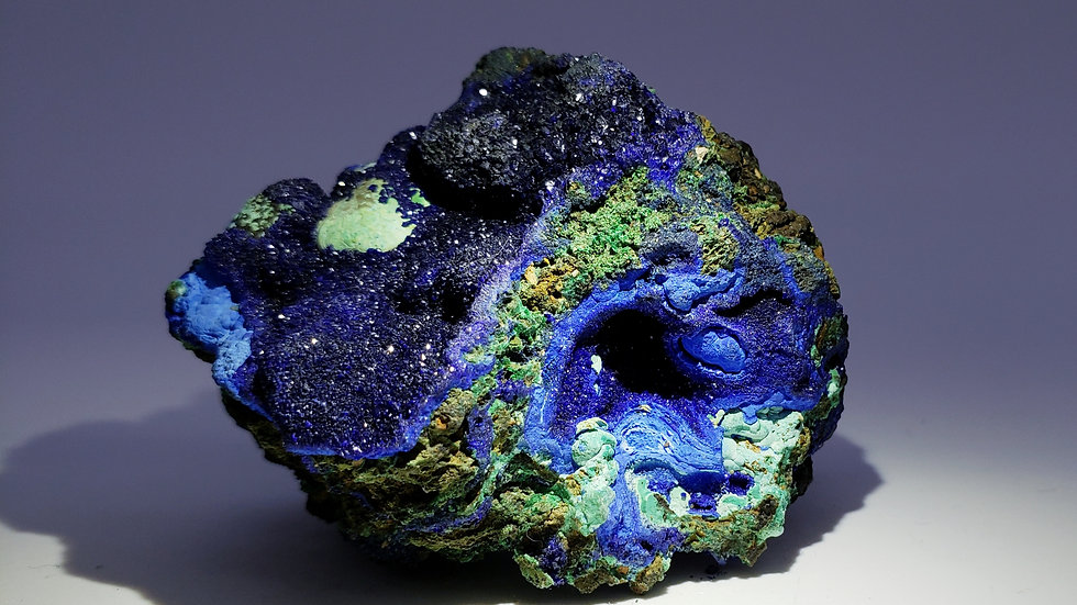 Azurite and Malachite from Khanong open pit, Sepon Mine, Laos
