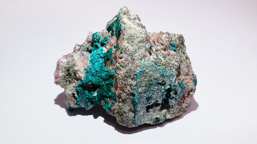Emerald Green Dioptase on Calcite from Namibia
