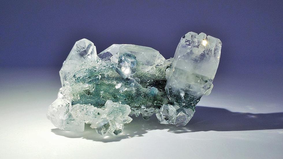 Apophyllite on Celadonite Included Chalcedony Stalactite from Maharashtra, India