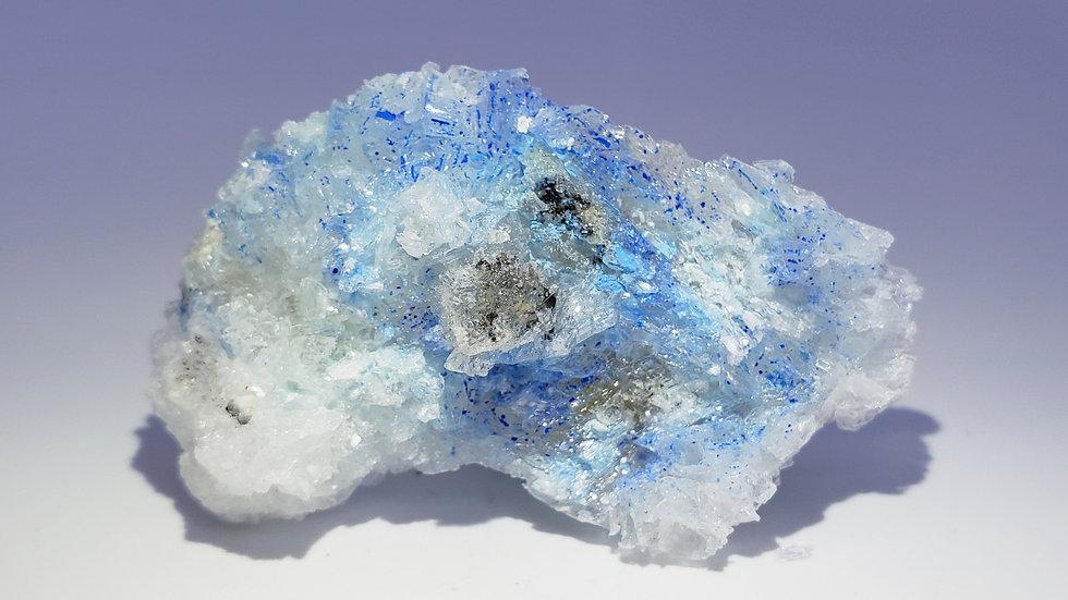 Rare Blue Cyanotrichite Crystals in Gypsum