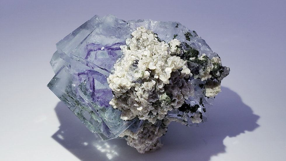 Collector's Piece: Fluorite with Muscovite and Epidote from Yaogangxian Mine