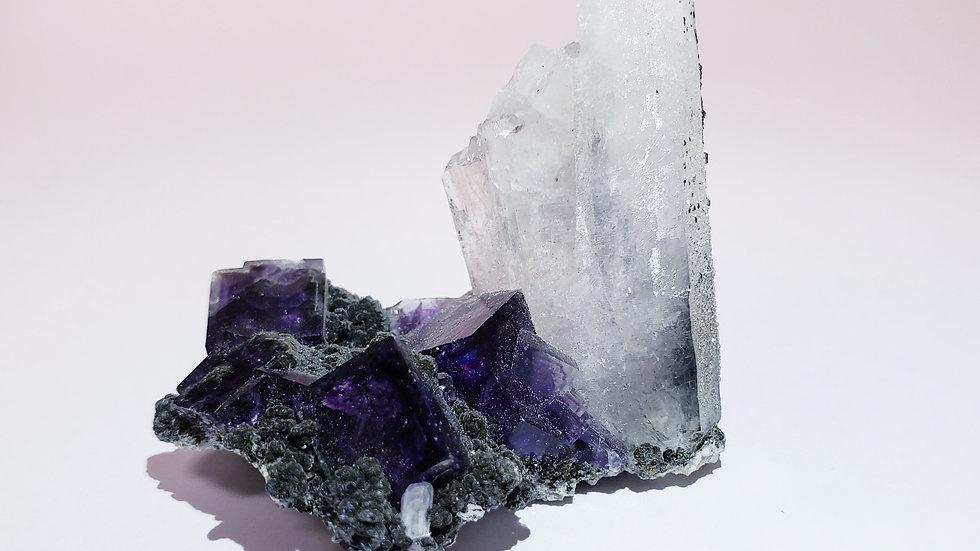 Purple Phantom Fluorite Cube with Quartz, Epidote and Pyrite Specimen from Yaoga