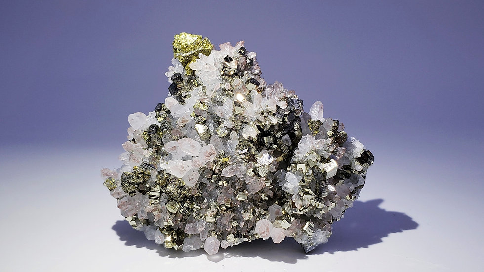 Collector's Piece: Hematite tinted Quartz with Pyrite and Chalcopyrite Specimen