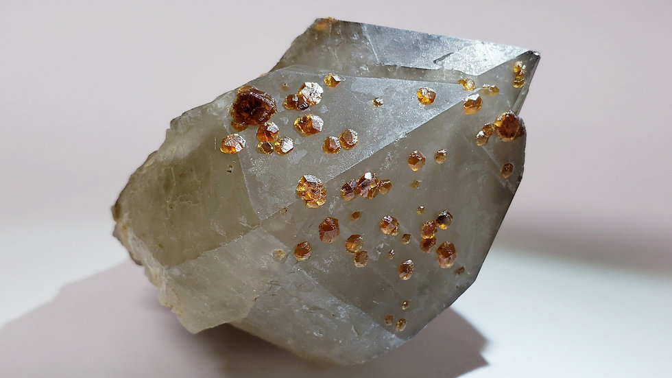 Spessartine Garnet on Smoky Quartz from Wushan Mine, China