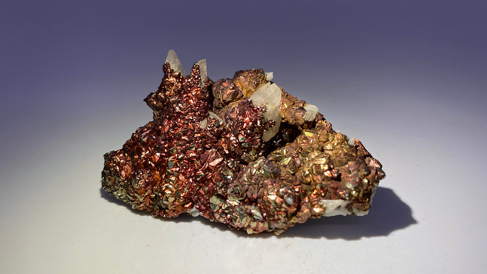 Iridescent Chalcopyrite on Calcite from Fengjiashan Mine (Daye Copper Mine)