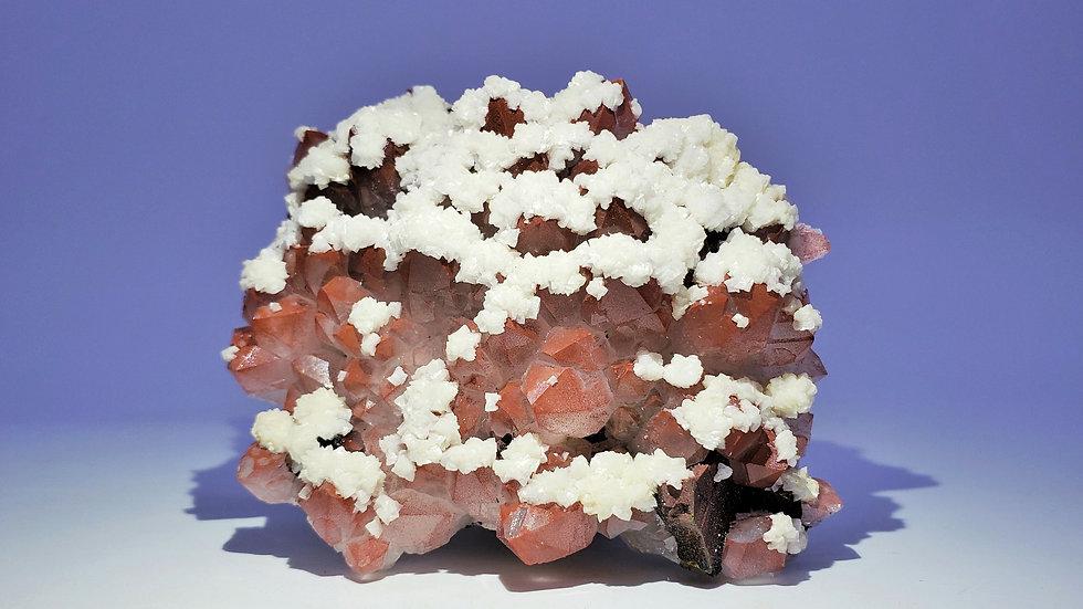 Collector's Piece: Red Hematite Quartz with Dolomite and Iridescent Chalcopyrite