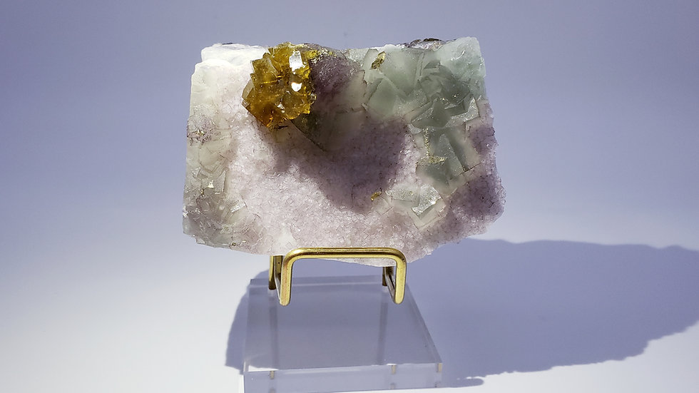 Collector's Piece: Barite (Baryte) on Rainbow Fluorite from Xiefang Mine, China