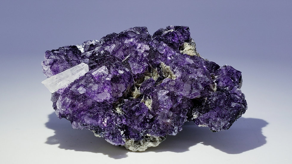 Fluorite Cluster with Quartz and Arsenopyrite from Yaogangxian Mine