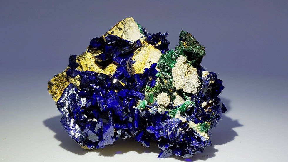 Gem Azurite and Malachite on Matrix from Sepon Mine, Laos
