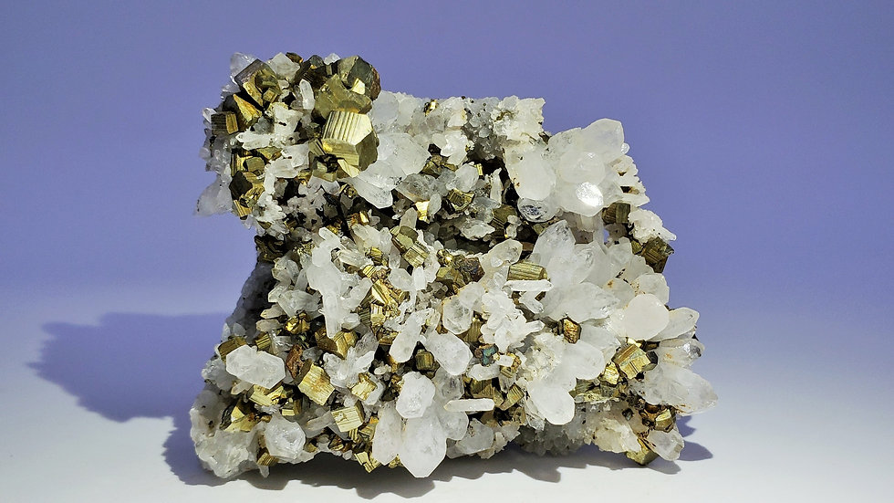 Collector's Piece: Pyrite on Quartz from Daye Copper Mine, China