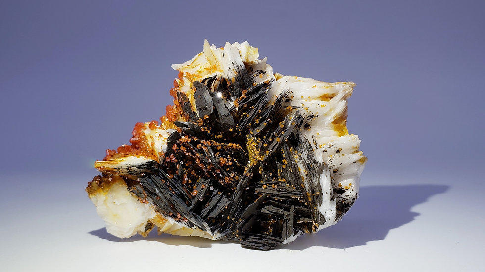 Vanadinite on Barite (Baryte) from Coud'a Workings, Mibladen, Morocco