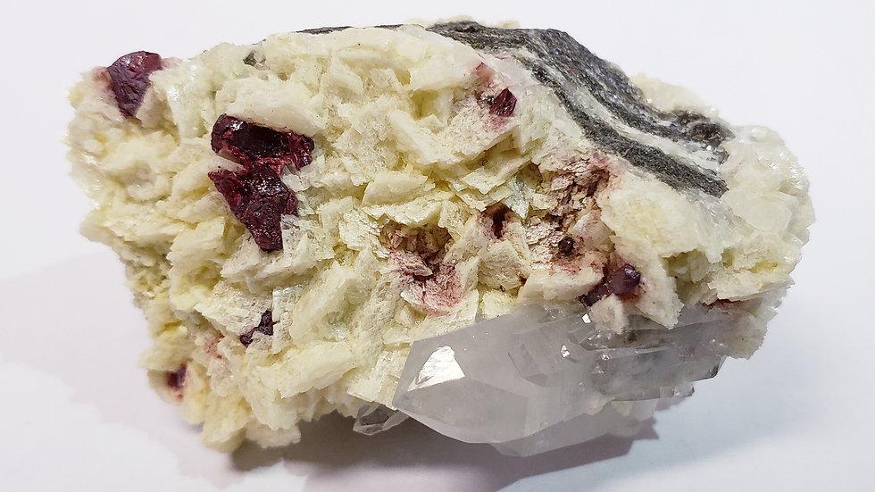 Intense Cherry-Red Cinnabar and Quartz Crystals on Dolomite Specimen from Wansha