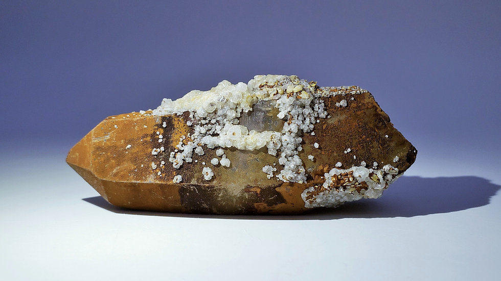 Collector's Piece: Goethite Coated Quartz with Calcite from Daye Copper Mine