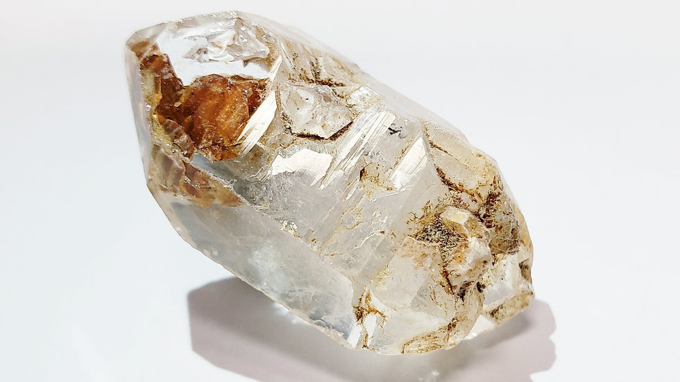 Enhydro Fenster Quartz Scepter with Clay Inclusions from Namibia