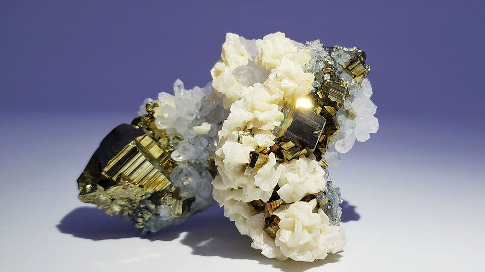 Pyrite and Dolomite on Quartz from Dongxiang Co., China