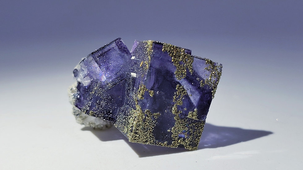 Pyrite on Fluorite with Dolomite from Yaogangxian Mine