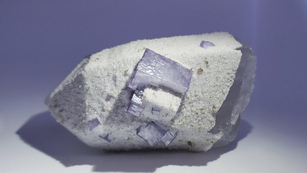 Fluorite, Scheelite and Calcite on Quartz Point from Yaogangxian Mine
