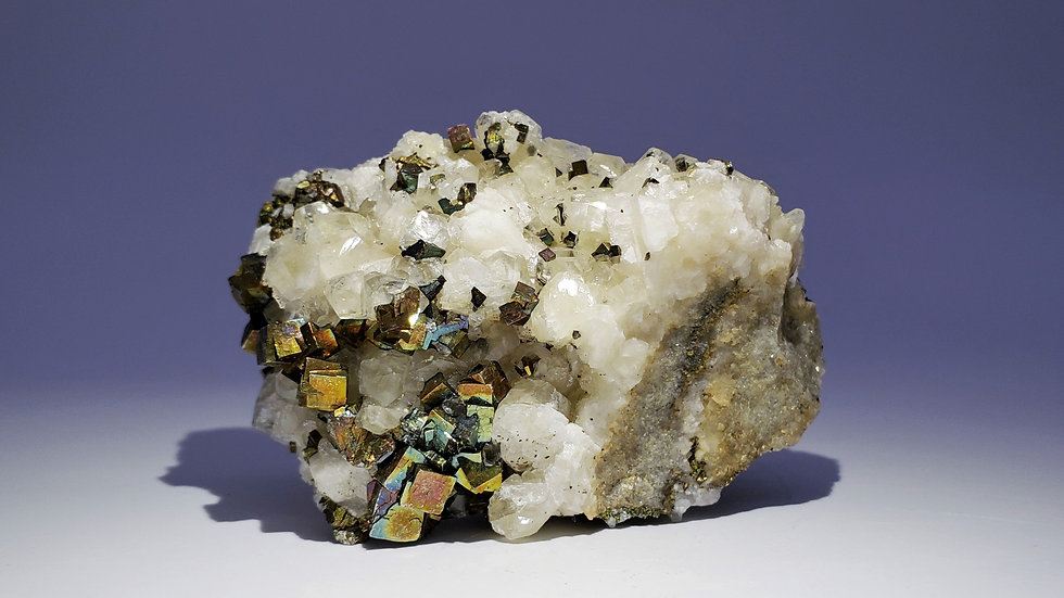 Iridescent Chalcopyrite on Calcite from Daye Copper Mine, China