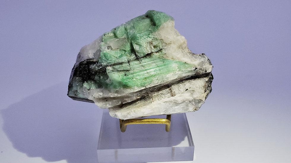 Beryl var. Emerald in Quartz from Dayakou Emerald Mine, China