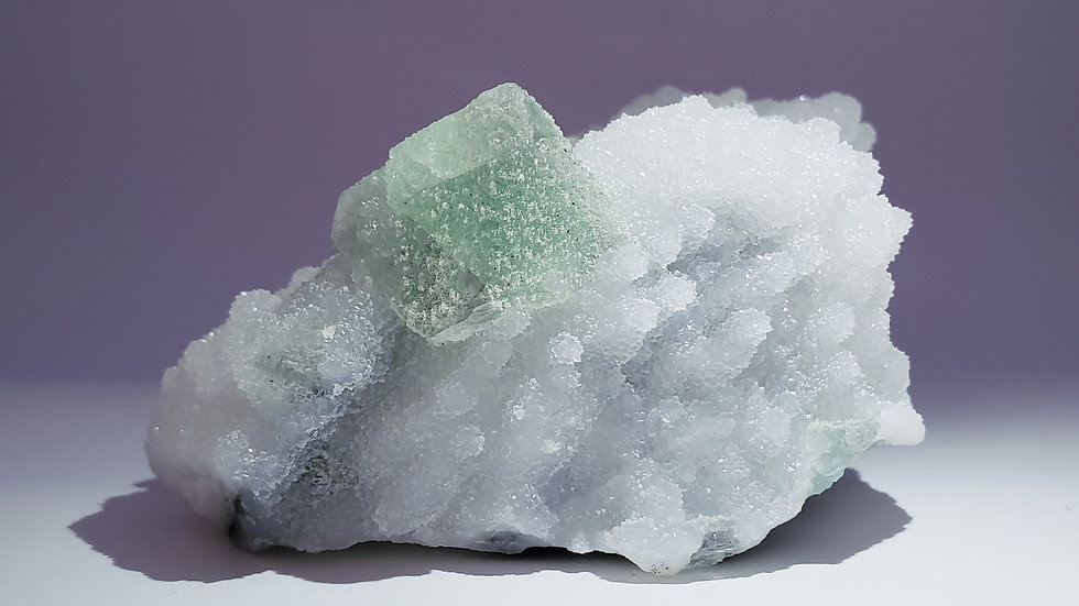 Octahedral Fluorite on Drusy Quartz from Piaotang Mine