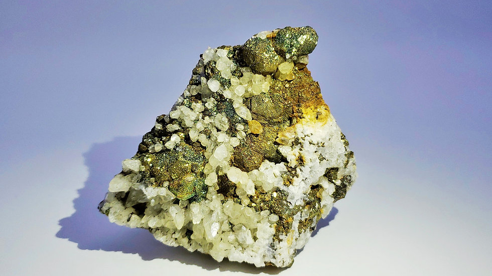 Iridescent Chalcopyrite with Calcite (Fluorescent) from Daye Copper Mine